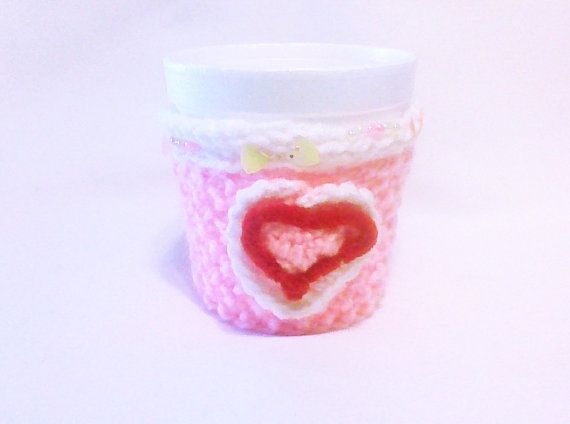 Hey, I found this really awesome Etsy listing at https://www.etsy.com/listing/175265509/crochet-heart-pink-coffee-cozy-tea-cup