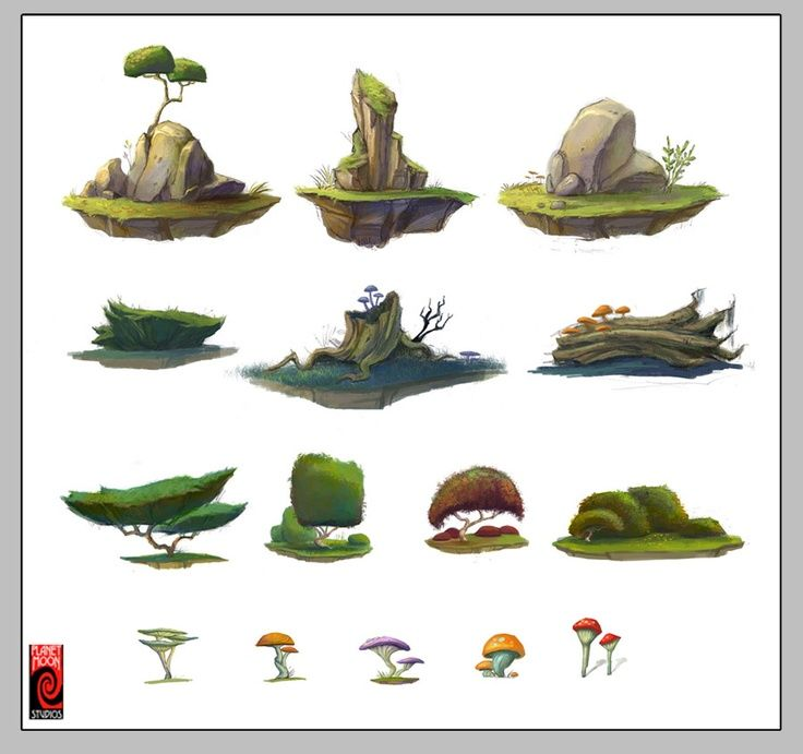Character Design Environment : The mooniacs mobile game pesquisa google trees
