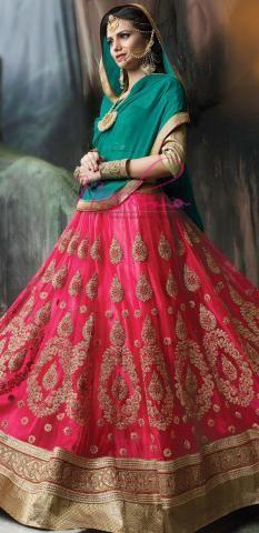 Shop Langa Voni Online Peach Net Pavadai Semi Stitched ND1103D10174