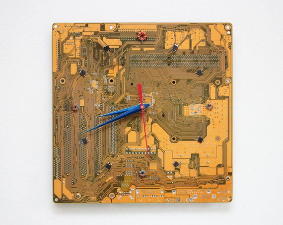 Geeky Wall clock  recycled Computer  yellow circuit by ReComputing, $56.00
