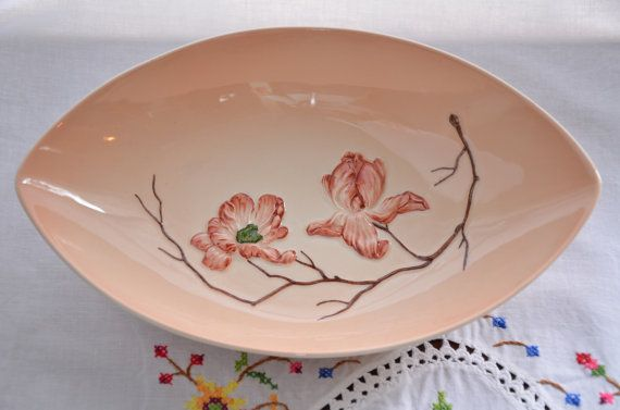 Carlton Ware made in England dish, Australian design. Hand painted embossed Magnolia design.