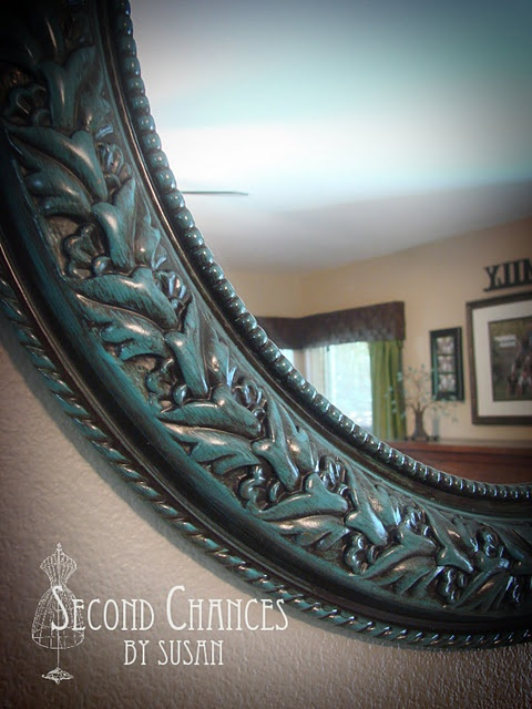 spray paint and gel stain create a beautiful mirror
