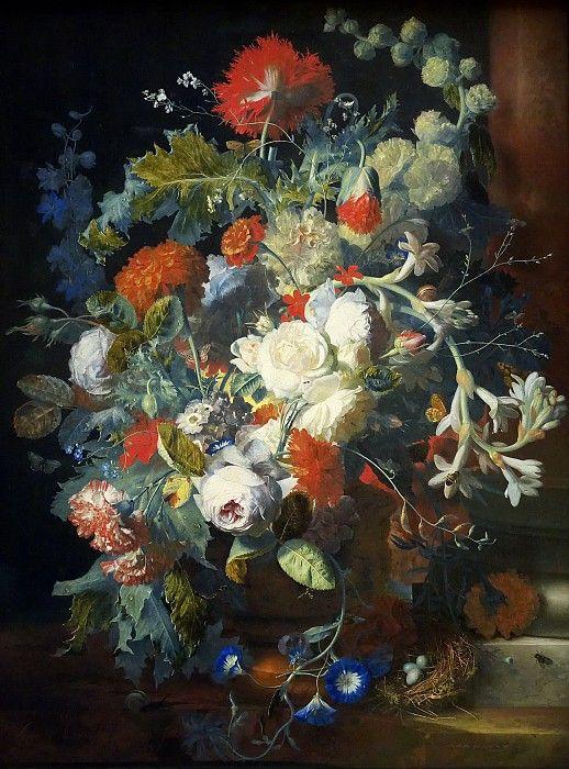 Ян ван Хейсум -- Букет цветов у колонны.