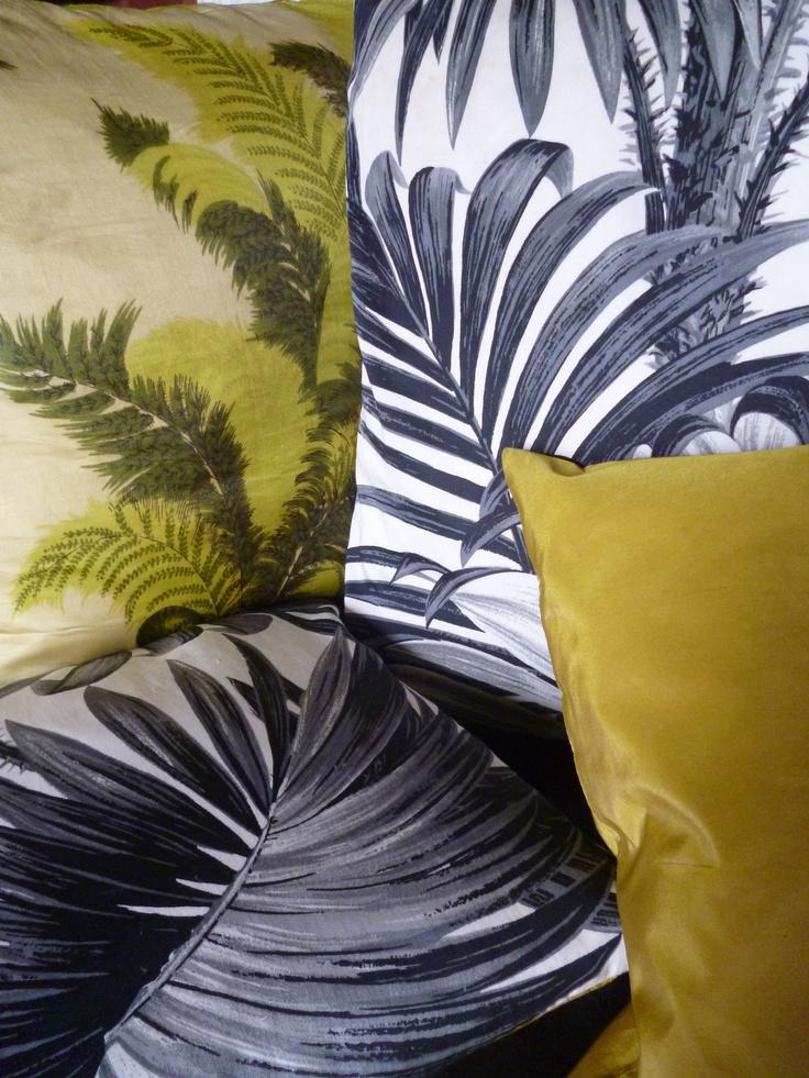 vintage palm print cushions