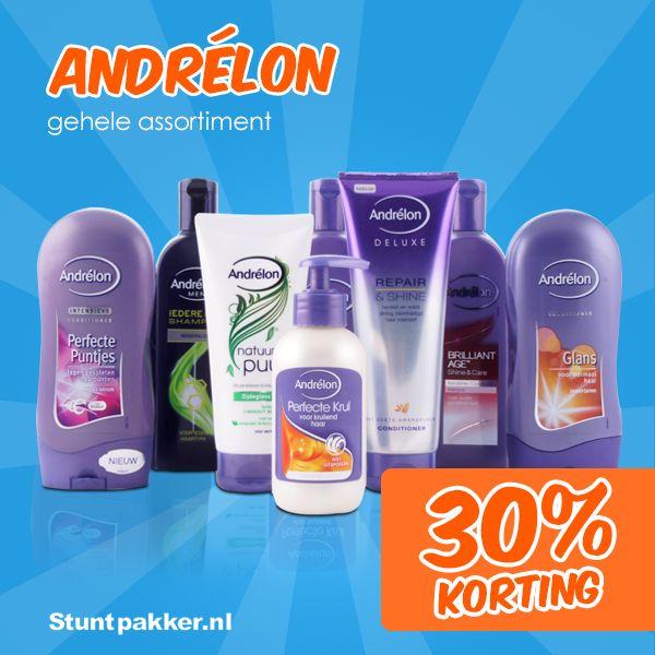 30% KORTING op Andrélon!  Ben jij op zoek naar shampoo voor krullend haar? Een haarmasker? Heb je pluizig haar? Wil je je haren wassen met shampoo voor geverfd haar? Of zoek jij een shampoo voor droog haar, beschadigd haar of juist een anti-roos shampoo? Voor ieder haartype of iedere haarwens kan je bij Andrélon terecht!  Shop snel op www.stuntpakker.nl