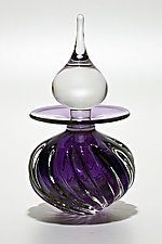 Twisted Square Rib Perfume Bottle: Grape by Michael Trimpol and Monique LaJeunesse (Art Glass Perfume Bottle)