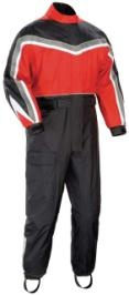 "Review of six motorcycle rain suits that'll keep you dry while you ride (Motorcycle Classics May/June 2009). The pictured suit is Tour Master's Elite Series II one-piece rain suit which features, among its waterproof pockets and various airflow technologies, an ""Aqua barrier"" under-helmet hood to eliminate collar seepage."