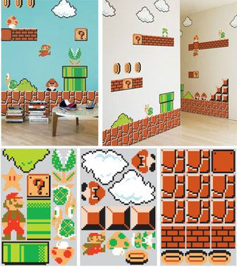 In late 1985, Super Mario Bros., created by the highly revered Shigeru Miyamoto, came to the Nintendo Entertainment System (NES) making a splash by ending the two year slump of video game sales in the US. As of 2009, it is the highest selling video game of all time - 40 million copies to date. Its theme music is recognized by gamers and non-gamers alike.   Made with blik Re-Stik, these movable and reusable decals are based on the same 8-bit graphics from the original Super Mario Bros. game…