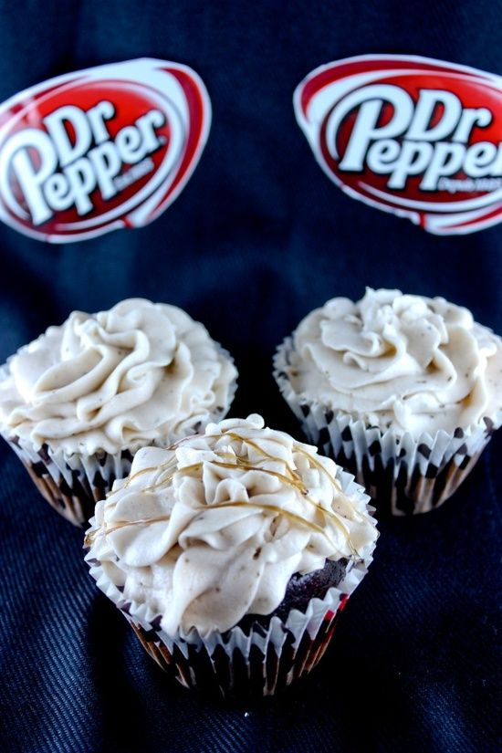 Dr. Pepper cupcakes!    1 box of chocolate cake mix  1/2 cup of melted butter  3 eggs  1 cup of Dr. Pepper    Pour the batter into cupcake liners and bake at 350°F for 12 minutes. Then you can get started on the icing – where things really start to get interesting. This icing recipe also doesn't have overly specific measurements, so it's a d