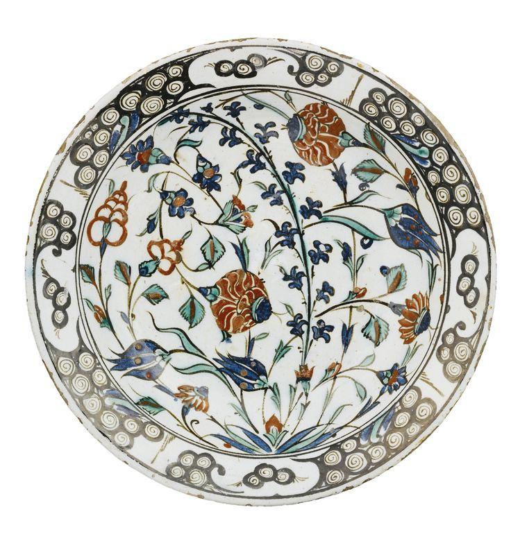 Iznik polychrome pottery dish, Turkey, circa 1570-80  31cm. diam.