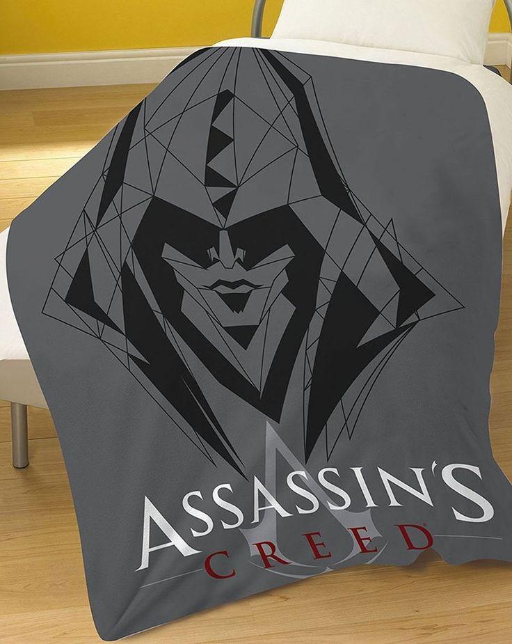 ASSASSINS CREED GREY FLEECE BLANKET MANTA POLAR BED BEDROOM THROW ADULT BOY MEN