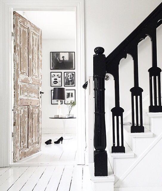 black + white decor. art wall.