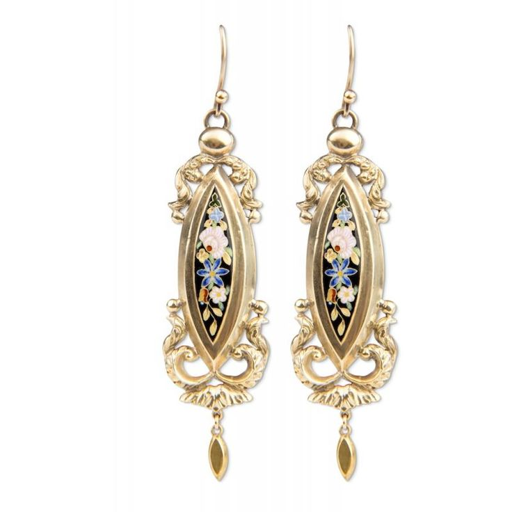 18ct Victorian Enamel Drop Earrings