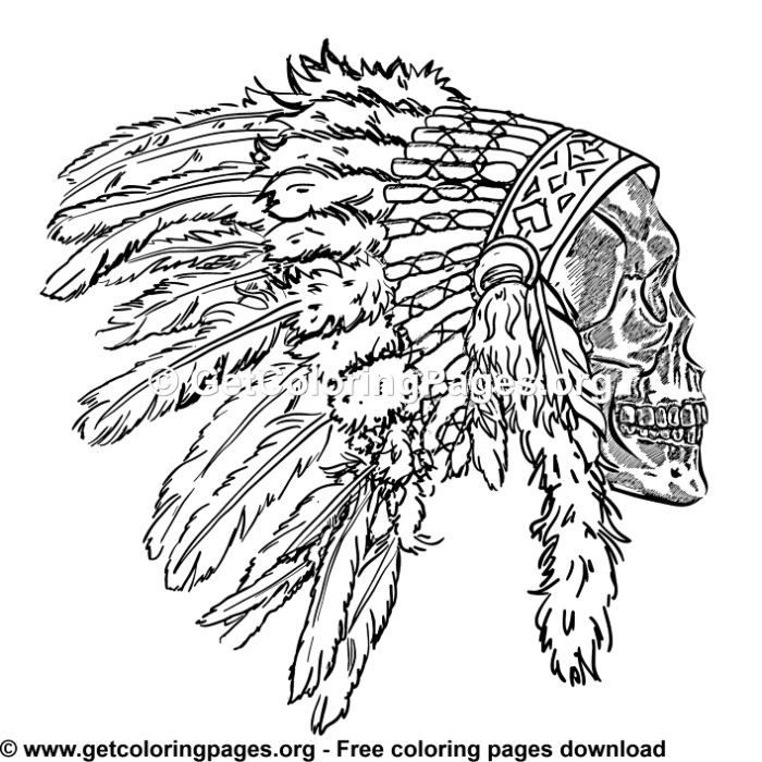 Indian Headdress Feathers Skull 5 Coloring Pages Coloring Pages