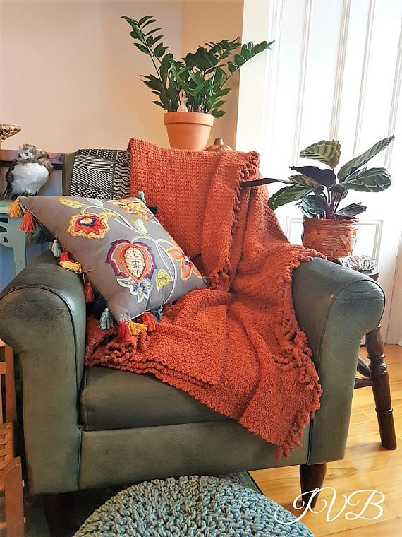 Vintage chenille throw throw blanket with fringes burnt