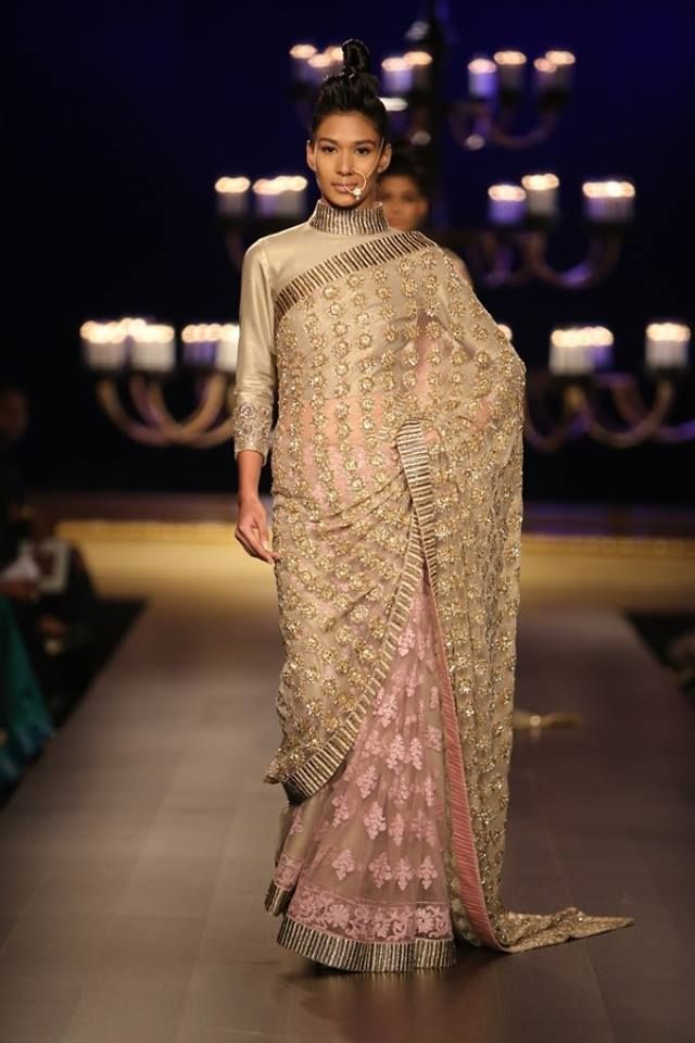 Manish Malhotra at India Couture Week 2014 - pink and gold sari with mirror work