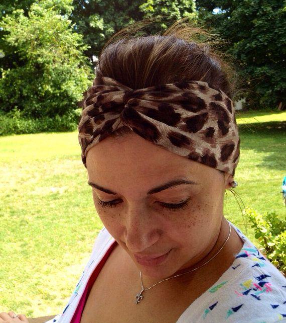 Black/Brown Leopard Print Turban Headband. Women's/kids turban headbands.