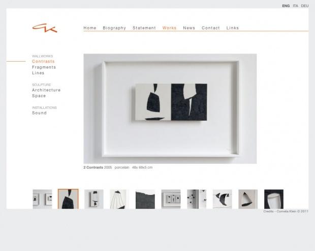 #Directo Il sito creato per l'Artista #CorneliaKlein di Firenze è stato sviluppato seguendo il progetto grafico realizzato dall'Agenzia#MeschiAssociatidi Lucca.  Directo è stata incaricata alla trasformazione in sito web del layout grafico proposto.