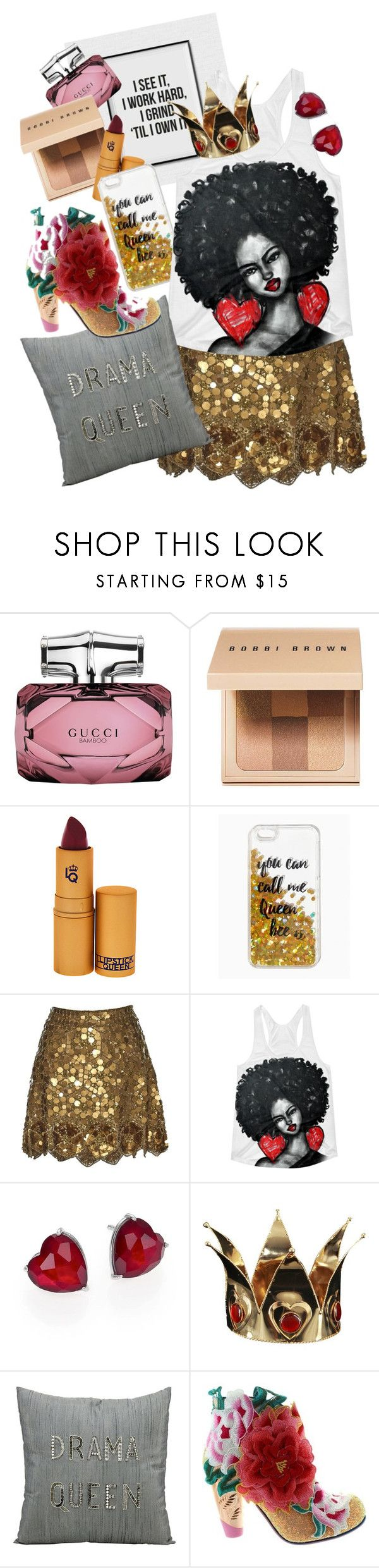 """queen."" by ducklemeg ❤ liked on Polyvore featuring Gucci, Bobbi Brown Cosmetics, Lipstick Queen, Queen Bee, Matthew Williamson, Adriana Orsini, Mina Victory and Irregular Choice"