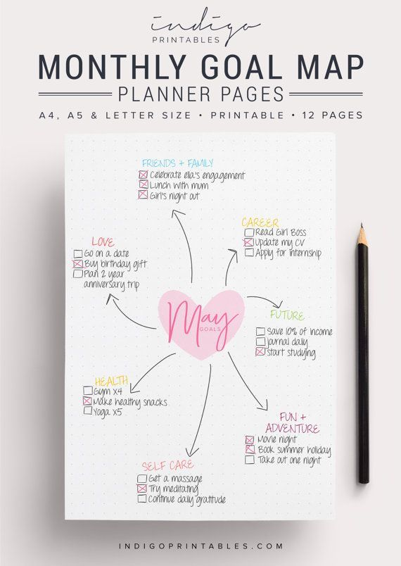 Blank Goal Planner Pack, 12 Pages, Printable | Created by @IndigoPrintables  Your goal planner will help you map out your goals for the year ahead and keep track of them, so you can focus on getting stuff done. Create a mind map of your goals for the month ahead, and or break them down your big monthly goal into bite sized action tasks. :::::::::::: WHAT'S INCLUDED :::::::::::: Your Printable Planner comes in A4, A5 and Letter size and contains: #1 PDF: Goal Planner Pages (12 pages) #2 PDF…