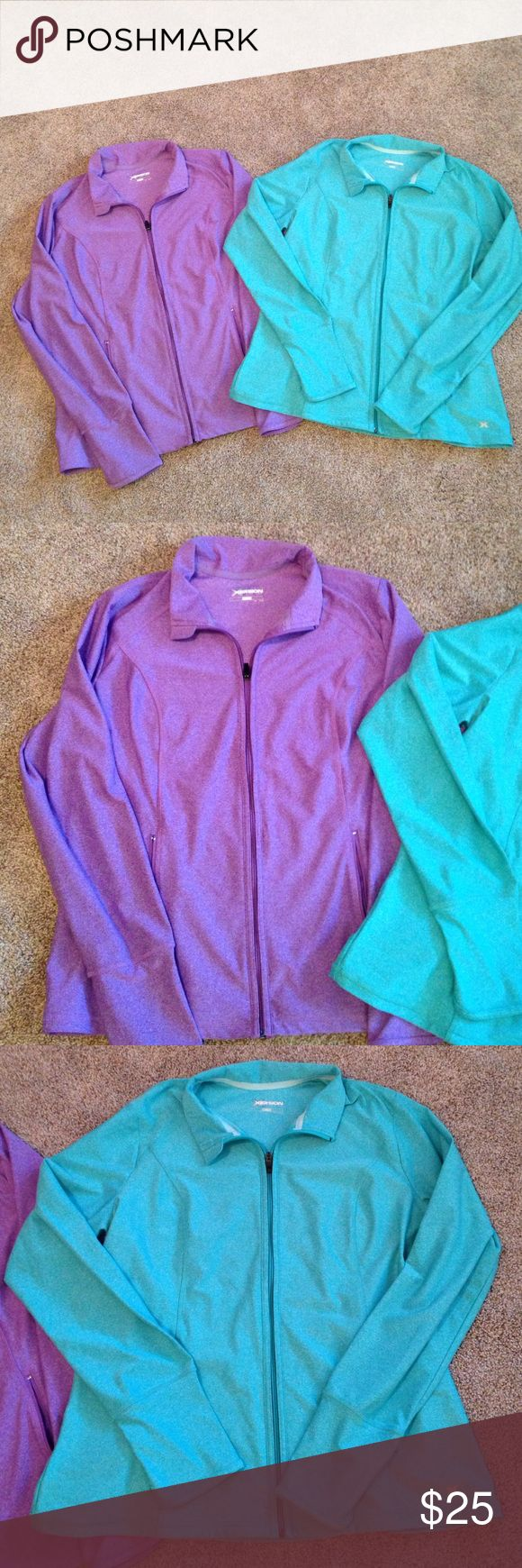 Zip up jackets. One lavender one turquoise Women's zip up jackets. One lavender and one turquoise. Great for casual to the gym or out to eat ice cream great condition! Xersion by JCPenney Jackets & Coats Utility Jackets