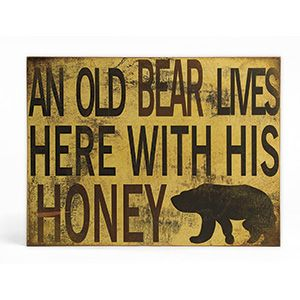 """NEW! Old Bear & Honey Sign -  A perfect bit of rustic décor for the cottage, cabin or trailer! Charming antique-look sign has keyhole opening for easy display. Painted MDF. (15-3/4""""L x 1""""W x 11-3/4""""H) (Product Number SM734) $19.98 CAD"""