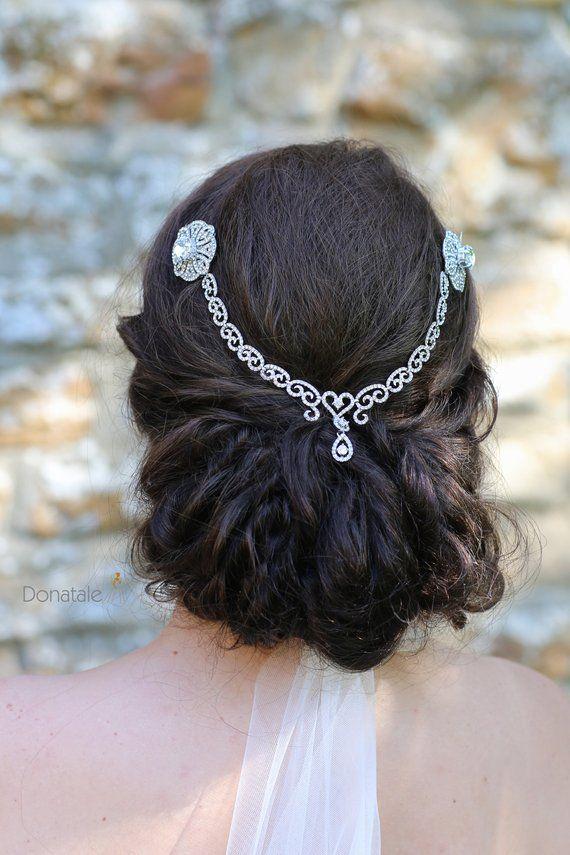 Wedding Hair Comb Bridal Hair Chain Vintage Style Bridal Back Headpiece Gatsby Headpiece Art Deco Hair Comb Bridal Headpiece Prom Uk Hair Chains Bridal Hair Chain Headpiece Art