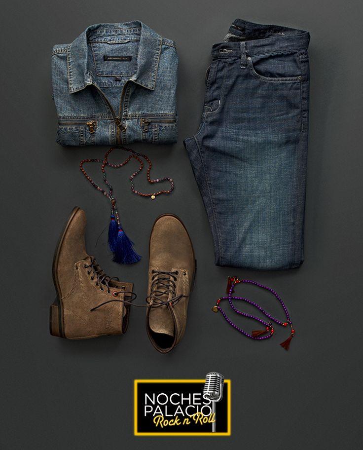 Camisa y pantalón, John Varvatos -  Botas, Levi's - Collar café, French Conection - Collar morado, Brazaletes JQL - #NochesPalacio Rock N' Roll http://soy.ph/NP_IG16