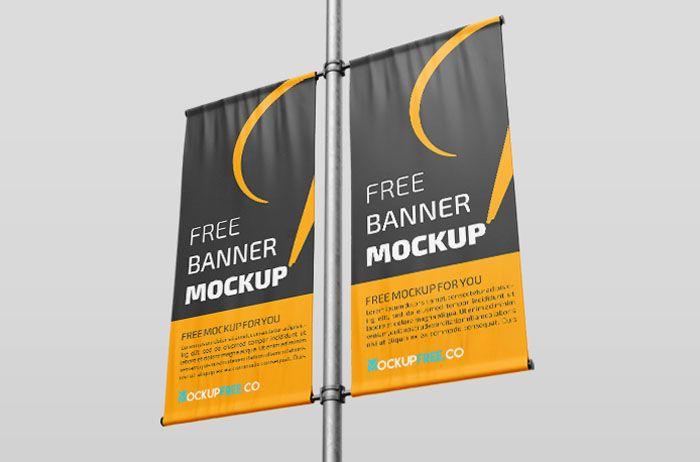 Street Lamp Banner Free Psd Mockup Mockup Free Psd Mockup Psd Mockup