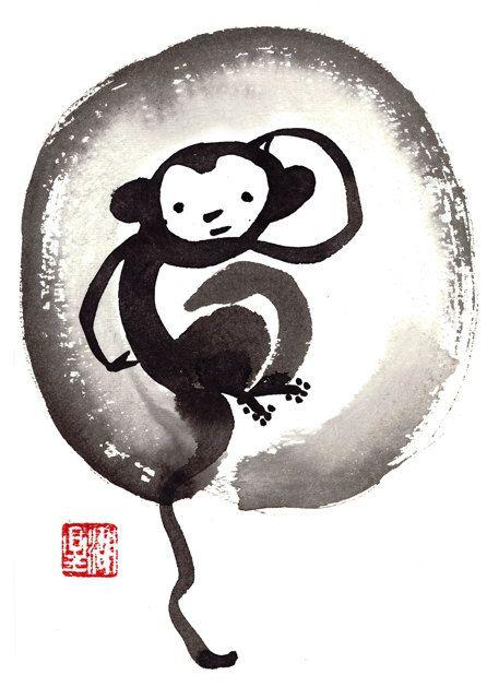 Monkey, Chinese Zodiac, Happy New Year of the Monkey 2016, Sumi Zen Painting, zen decor, japan illustration, childrens art, taoist feng shui