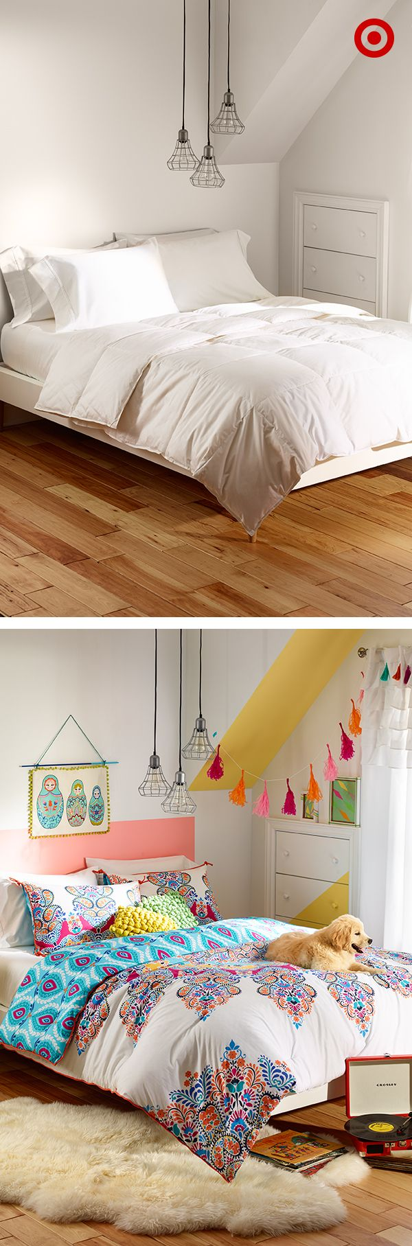 Instant bedroom refresher—just add color! Start with the bed, creating a focal…