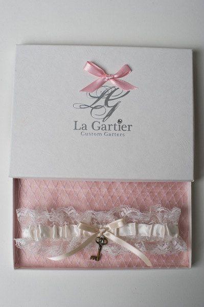 Wedding Garter Vintage Lace Skeleton Key Ivory by LaGartierGarters. The Priscilla Wedding Garter inside of the signature La Gartier box.