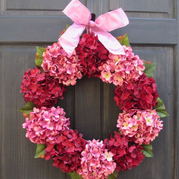 Summer Wreath for Door Pink & Red by NewEnglandHomeAccent on Etsy