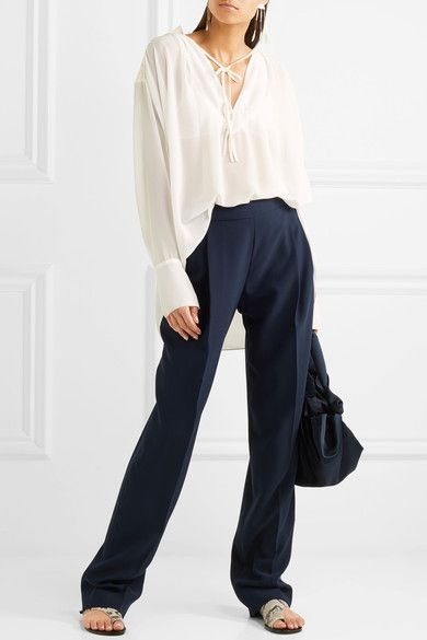 By Malene Birger - Bolivian Ruched Chiffon Blouse - Off-white