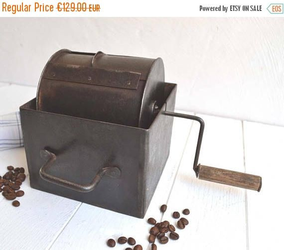 25% SALE Antique French Manual Barrel Stove Top Coffee Roaster For Roasting Raw Coffee Beans Grilloir Torrefacteur