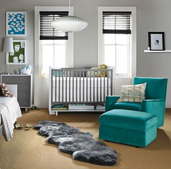 Grey and white. (Moda Dressers and Crib in Colors, Room & Board.)