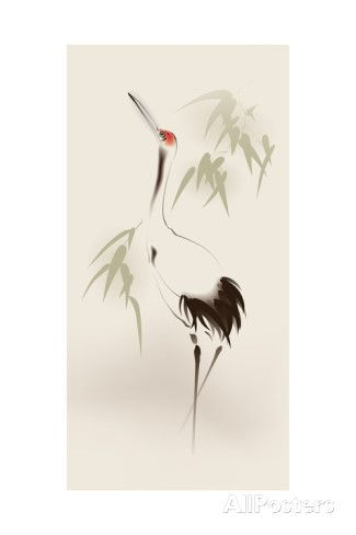 Oriental Style Painting, Red-Crowned Crane Poster by ori-artiste at AllPosters.com
