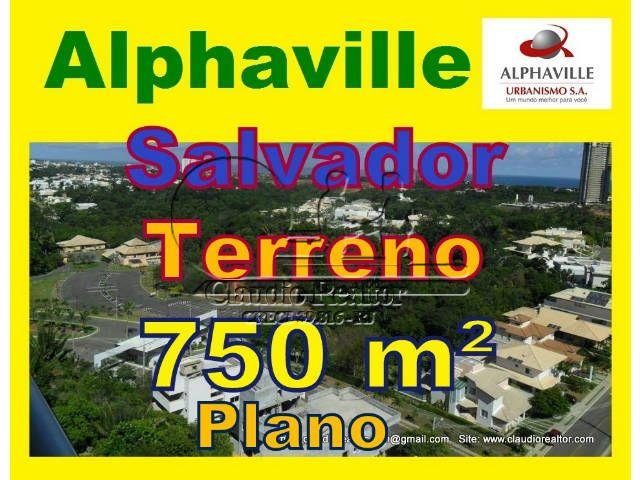 Terreno a venda em Alphaville Salvador, Condomínio Itapuã, 750m²  Terreno com 750 m², topografia plana, com 15 metros de frente, fica em um dos melhores pontos do condomínio Itapuã de Alphaville.