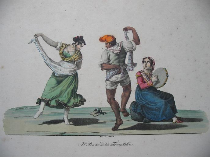 """""""Il ballo della tarantella"""" Litografie acquerellate di Carl Théodor Müller (1820 c.)"""