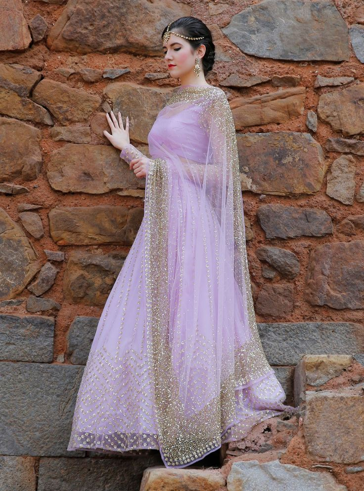 astha narang Lavender light net and georgette lehengas with machine and hand embroideries. Pretty