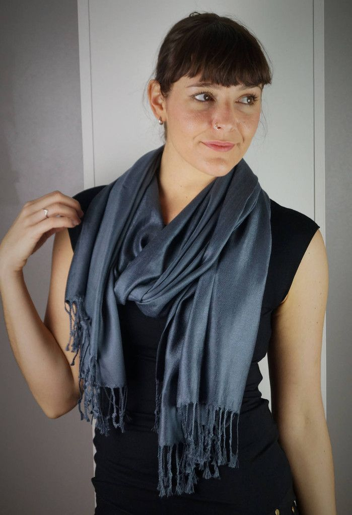 Silky soft cashmere style viscose scarf wrap accessory. Steel grey.