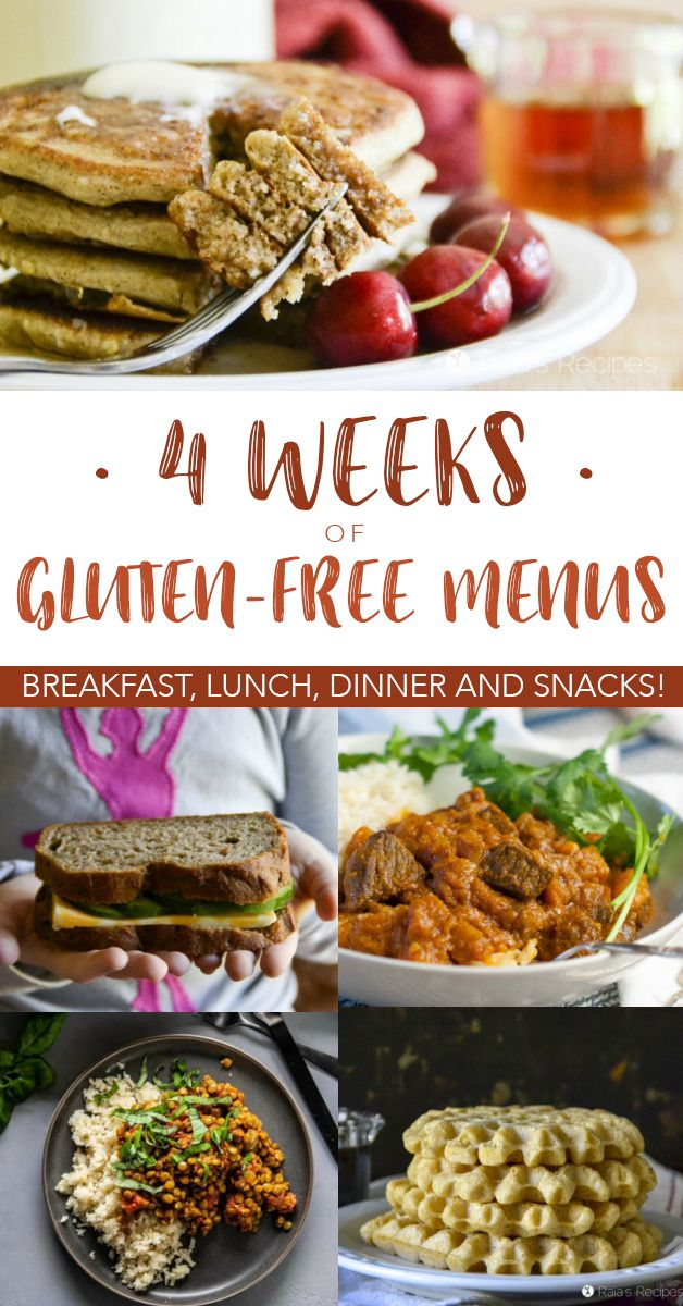 Four Weeks Of Gluten Free Menus Healthy Real Food Gluten Free Menu Gluten Free Meal Plan Gluten Free Restaurant Menus