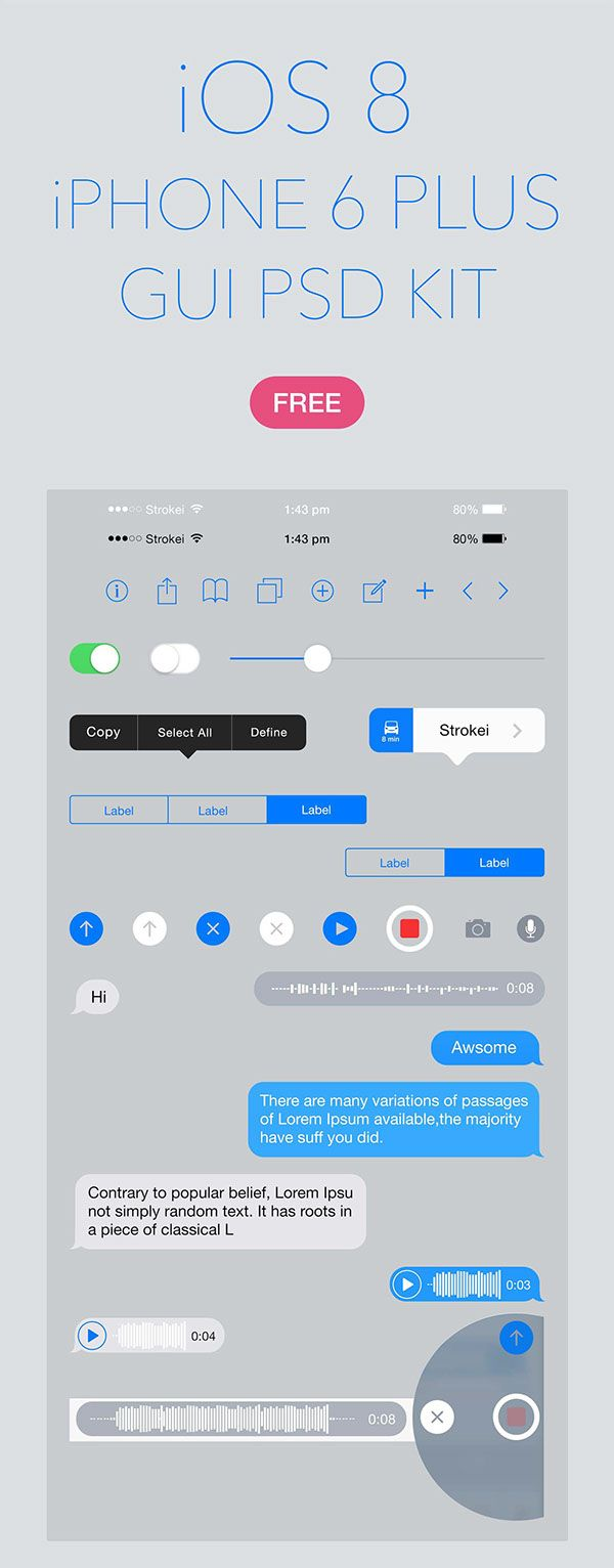 iOS 8 iPhone 6 Plus GUI PSD #uikits #freepsdfiles #uielements #androidUI #mobileappui #uidesign