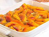 Baked peach french toast.  A simple, easy to make, healthy dish that can be prepared the night before.  We just had it for breakfast and it was a hit with both the kids and our house guests!  It was great with slightly sweetened whipped cream.  Didn't need any syrup.