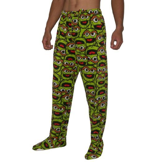 Amazon.com: Sesame Street Oscar The Grouch Mens Footed Pajama Pants L(36-38) Multicolor: Clothing