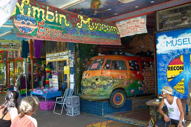 Nimbin Australia ..... I visited this sleepy little hippie town in the mountains in Queensland, Australia ( I think it's in Queensland). There were platapuses in the river, I slept in an old railroad car painted in colors of the rainbow, watched a movie with Clint Eastwood in it in an old barn converted into a movie theatre...it was really an amazingingly cool place in the world.