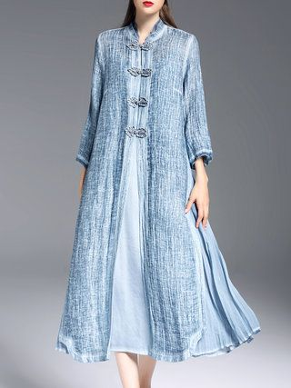 Blue Tencel Slit 3/4 Sleeve Two Piece Midi Dress