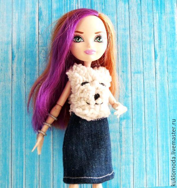 Купить Одежда для кукол Эвер Афтер Хай . Платье с мишкой. - комбинированный, одежда для кукол.