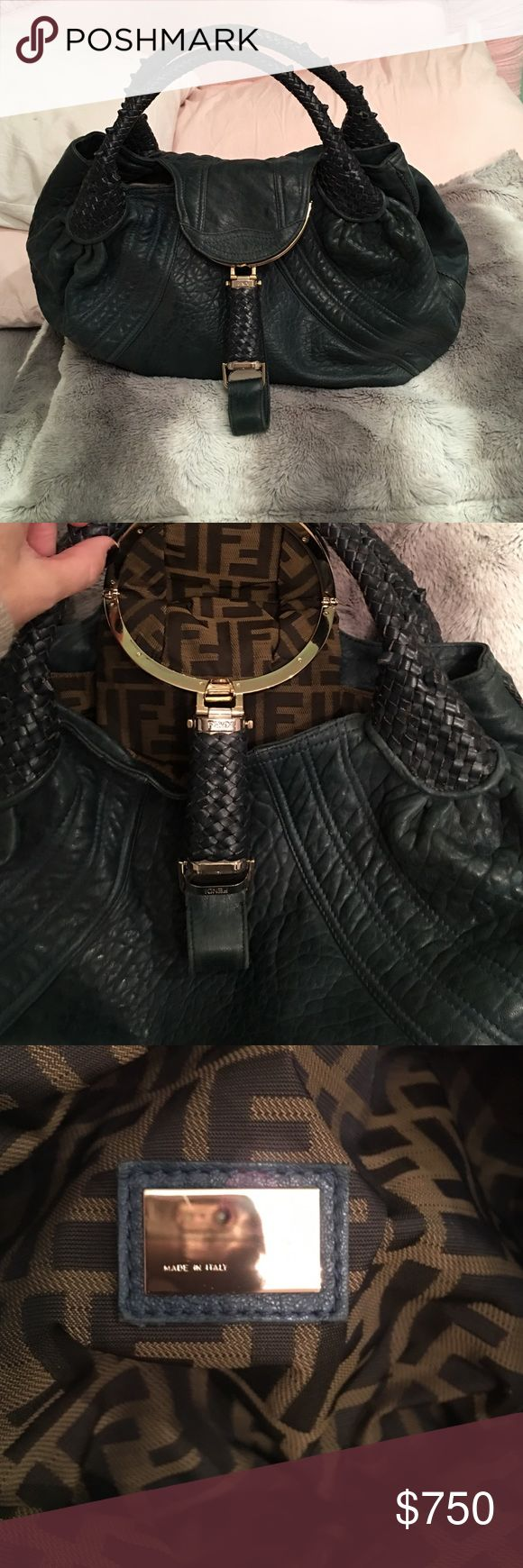 AUTHENTIC ONLY FENDI SPY BAG Beautiful teal color with gold hardware.   Limited addition color. Duster included. Bags Hobos