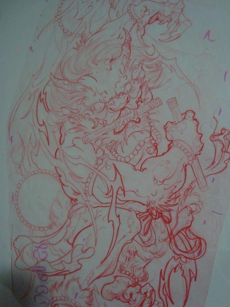 Japanese Thunder God Full Sleeve Sketch Thunder